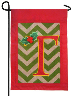 Burlap Christmas Monogram T Decorative Garden Flag