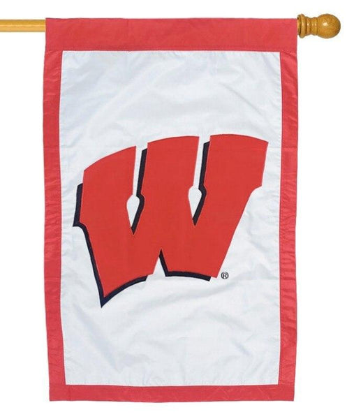 Wisconsin Badgers Applique House Flag