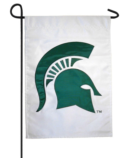 Michigan State Spartans Applique Garden Flag White
