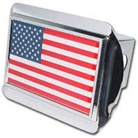 American Flag Shiny Chrome Hitch Cover