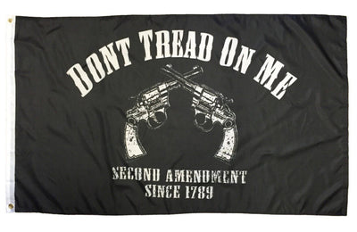 2nd Amendment Don't Tread On Me Crossed Revolvers Black 3x5 Flag