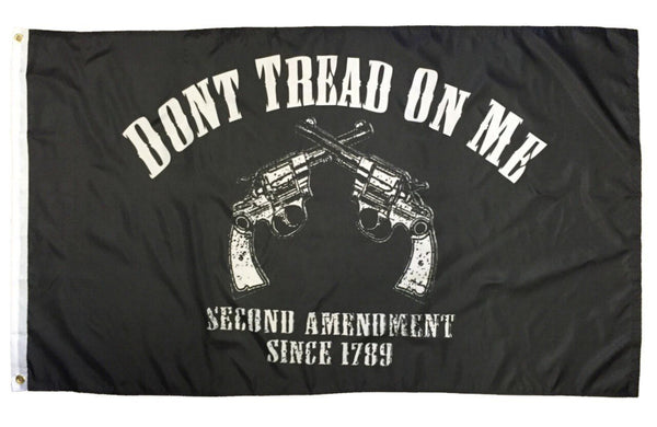 2nd Amendment Don't Tread On Me Crossed Revolvers Black 3x5 Flag - Novelty Flags - I AmEricas Flags
