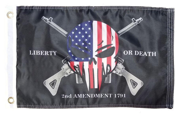 2nd Amendment Punisher Skull 12x18 Boat Flag - I AmEricas Flags