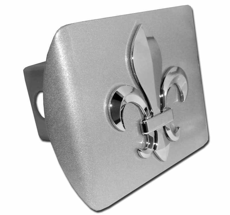 3D Fleur de Lis Brushed Chrome Hitch Cover