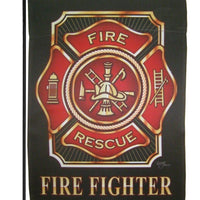 Firefighter Maltese Cross Sublimated Garden Flag
