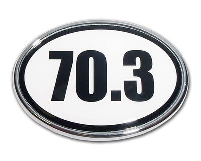 70.3 Half Ironman Chrome Car Emblem