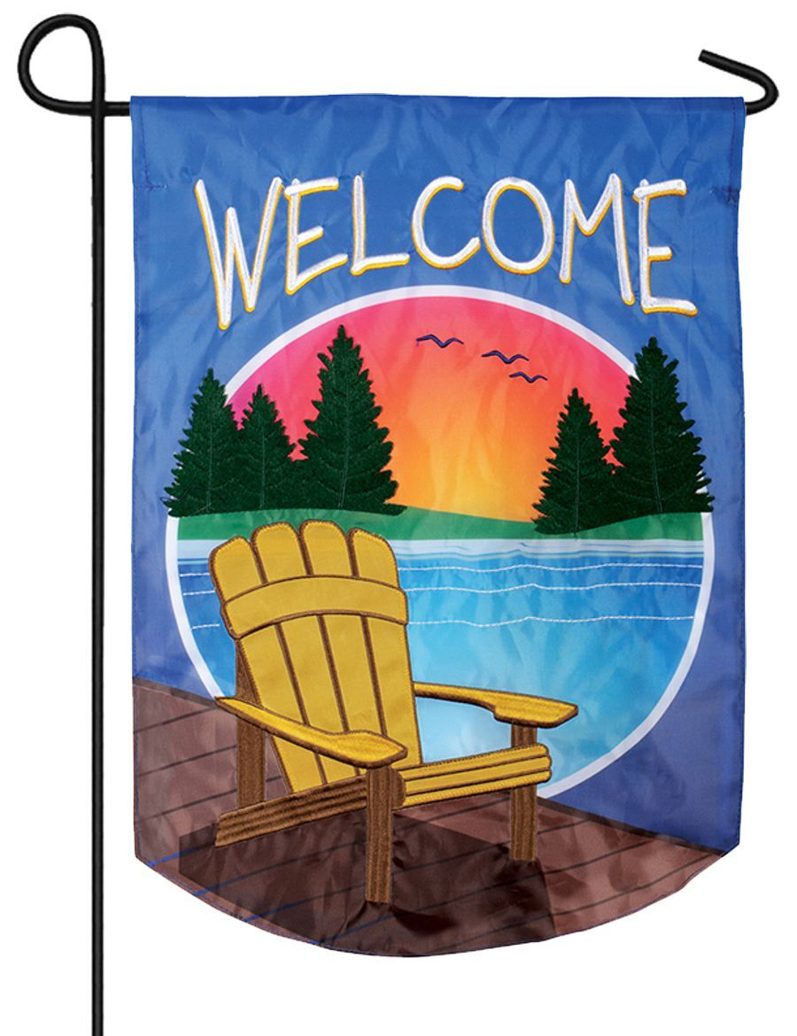 Adirondack Sunset Double Applique Garden Flag