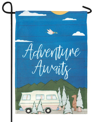 Adventure Awaits RV Garden Flag