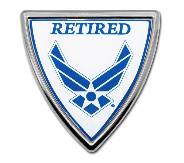 Air Force Retired Shield Color and Chrome Emblem