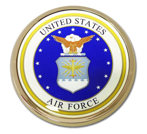 Air Force Seal Chrome with Color Car Emblem