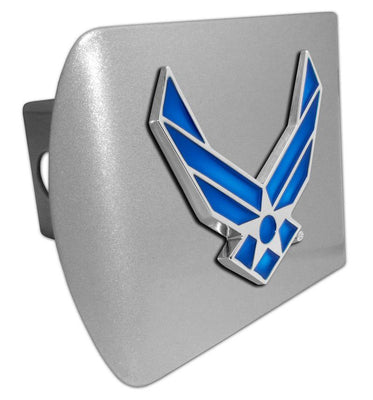 Air Force Wings Premium Emblem Brushed Hitch Cover