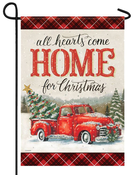 All Hearts Christmas Pickup Truck Glitter Garden Flag