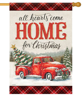 All Hearts Christmas Pickup Truck House Flag