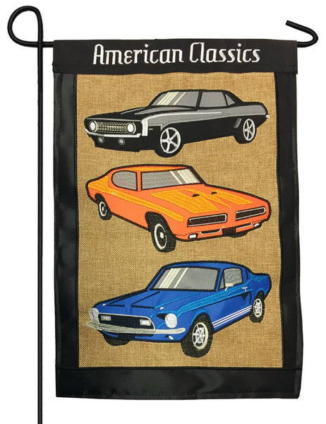 American Classic Muscle Cars Double Applique Garden Flag