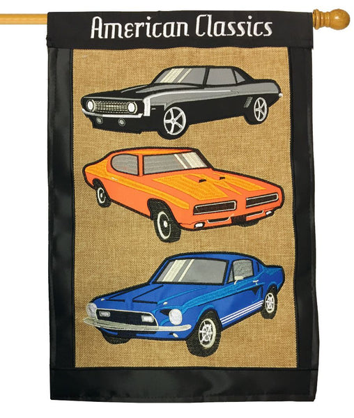 American Classic Muscle Cars Double Applique House Flag