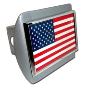 American Flag Brushed Chrome Hitch Cover