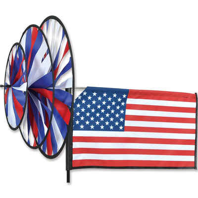 American Flag Triple Wind Spinner