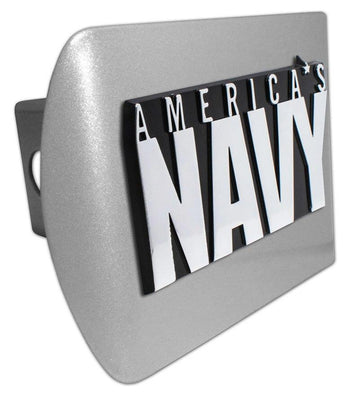 America's Navy Brushed Chrome Hitch Cover