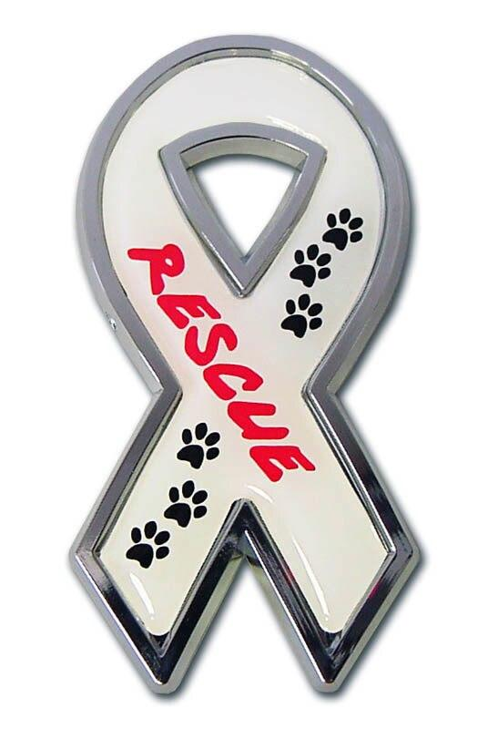 Animal Rescue Ribbon Chrome Car Emblem