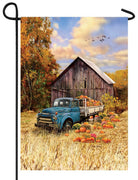 Antique Flatbed Truck and Pumpkins Garden Flag