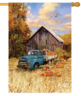 Antique Flatbed Truck and Pumpkins House Flag