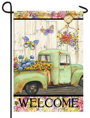 Antique Truck and Fresh Flowers Garden Flag