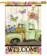 Antique Truck and Fresh Flowers House Flag