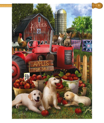 Apples For Sale Farmyard Suede Reflections House Flag