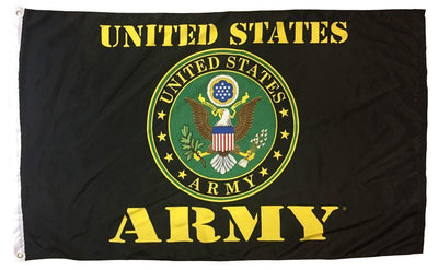 Army Green Seal on Black 3x5 Printed Polyester Flag