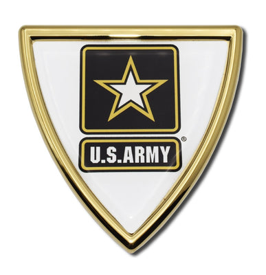 Army Shield Gold Chrome with Color Car Emblem