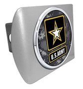 Army Star Seal Camo Brushed Chrome Hitch Cover