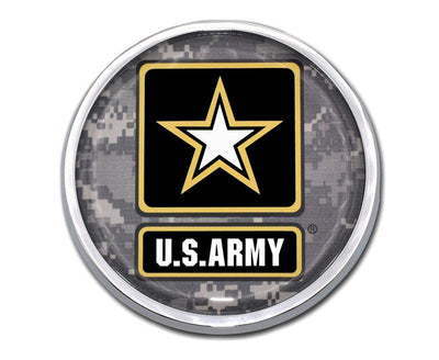 Army Star Seal Camo Chrome Car Emblem
