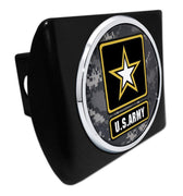 Army Star Seal Camo Chrome Black Hitch Cover