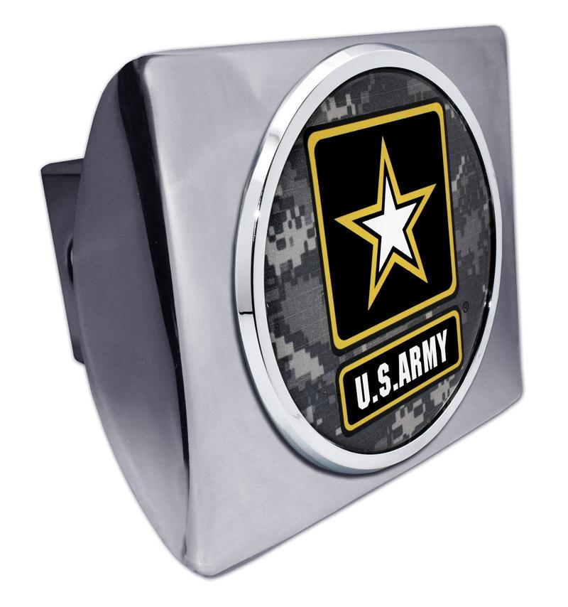 Army Star Seal Camo Chrome Hitch Cover