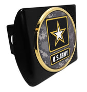 Army Star Seal Camo Gold Emblem Black Hitch Cover
