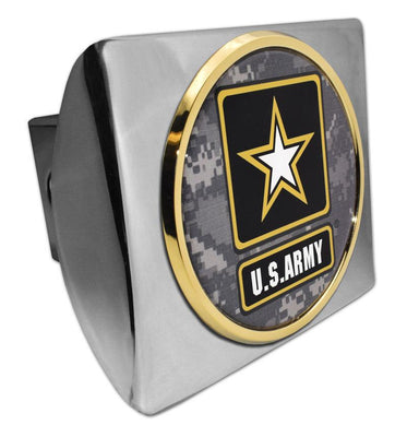 Army Star Seal Camo Gold Chrome Hitch Cover