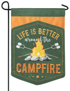 Around the Campfire Double Applique Garden Flag