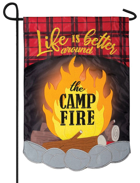 Around the Campfire Plaid Double Applique Garden Flag