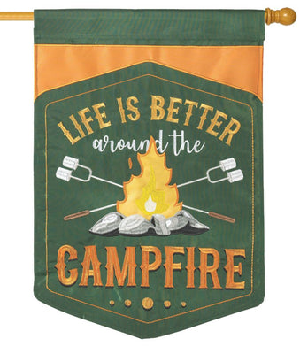 Around the Campfire Double Applique House Flag