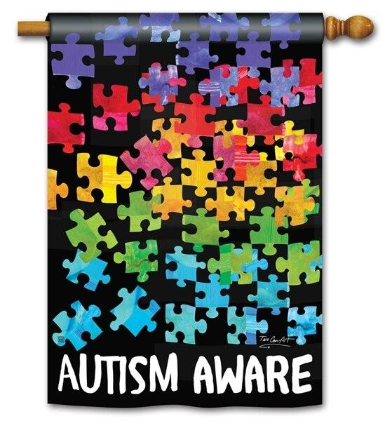Autism Aware House Flag - All Decorative Flags/Themes/Breast Cancer Awareness - I AmEricas Flags