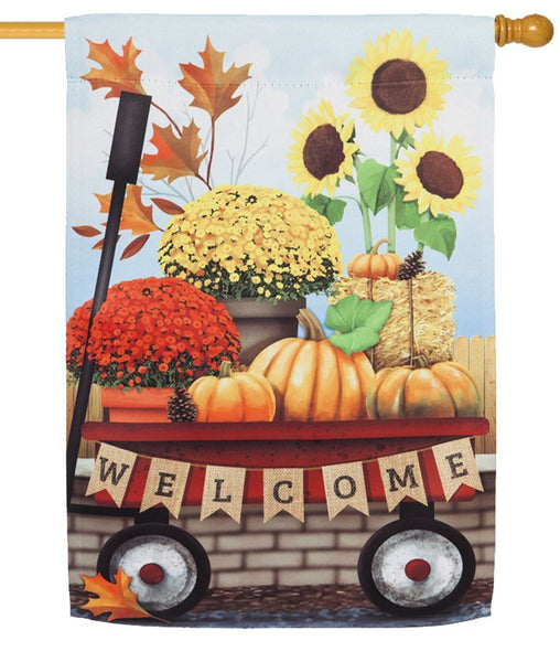 Autumn Floral Red Wagon Suede Reflections House Flag