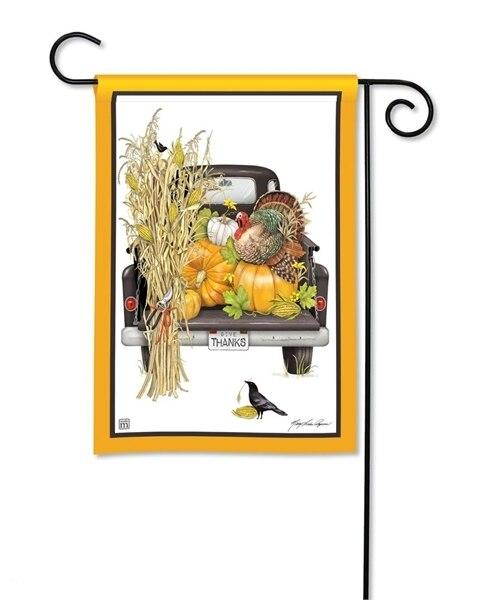 Autumn Harvest Pickup Truck Garden Flag
