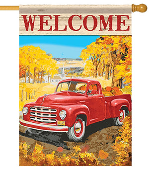 Autumn Red Pickup Truck House Flag