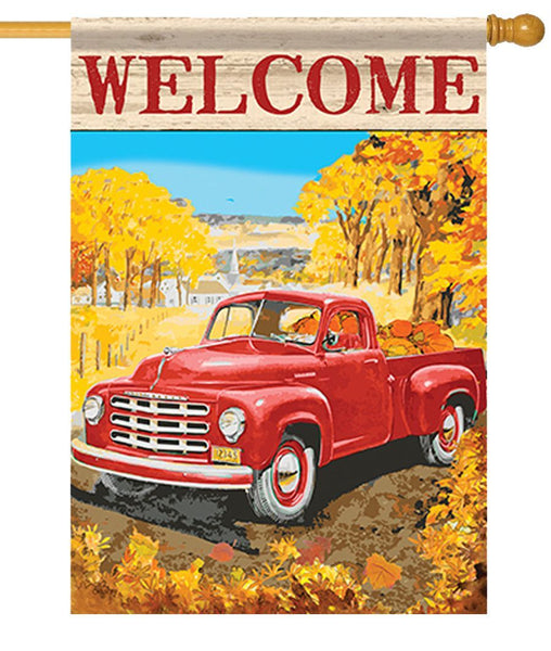 Autumn Red Pickup Truck House Flag - I AmEricas Flags