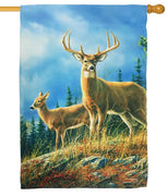 Autumn Whitetails Suede Reflections House Flag