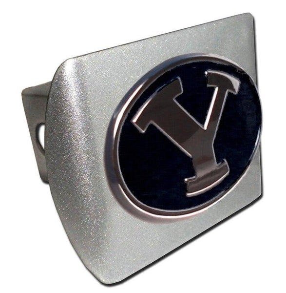 Brigham Young University Black Brushed Chrome Hitch Cover - Chrome Car Emblems | Trailer Hitch Covers/Collegiate Car Emblems/Brigham Young University - I AmEricas Flags
