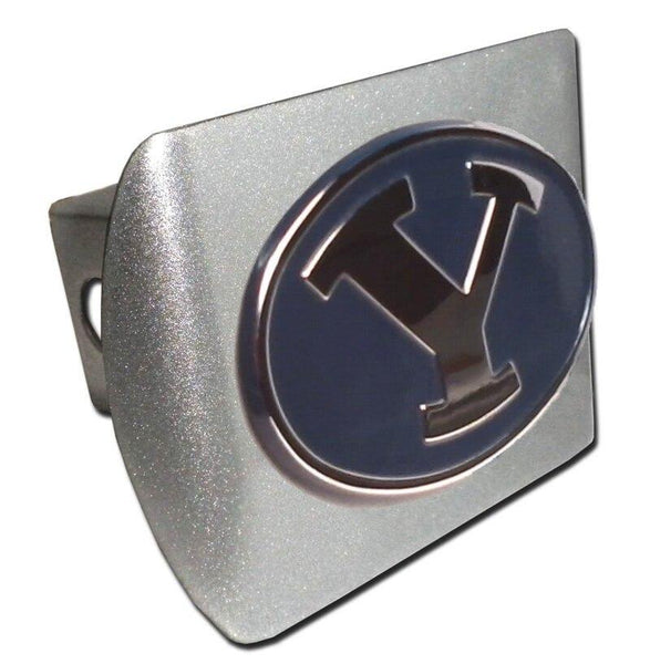Brigham Young University Navy Brushed Chrome Hitch Cover - Chrome Car Emblems | Trailer Hitch Covers/Collegiate Car Emblems/Brigham Young University - I AmEricas Flags