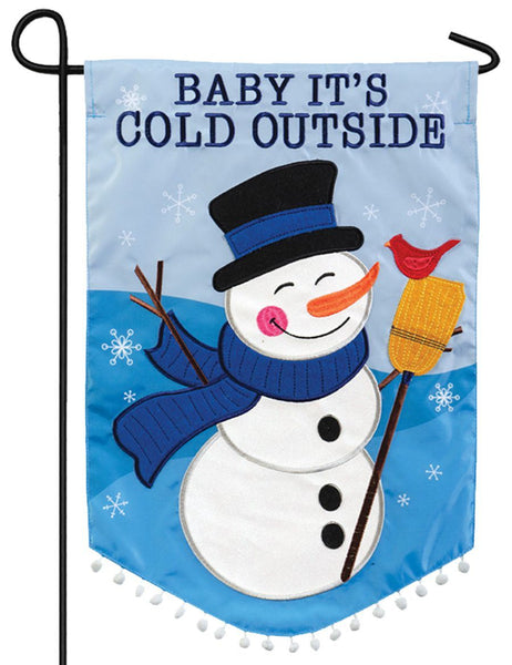 Baby it's Cold Outside Snowman Double Applique Garden Flag