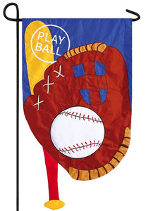 Baseball Bat and Glove Applique Garden Flag