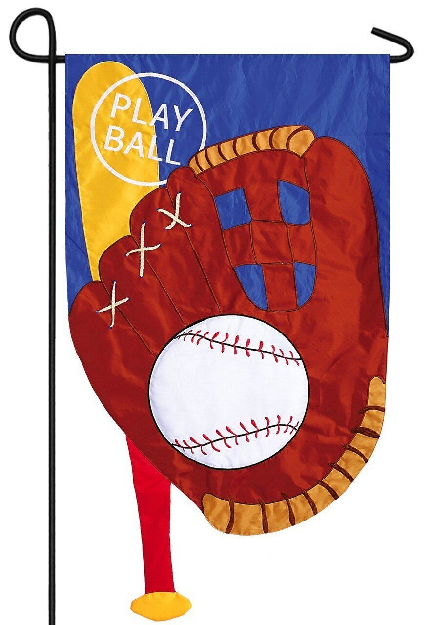 Baseball Bat and Glove Applique Garden Flag - Sports Flags/Decorative Sports Flags - I AmEricas Flags